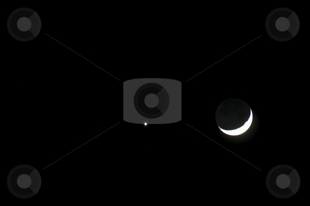Moon and Star stock photo, A crescent moon next to a star. by Robert Byron
