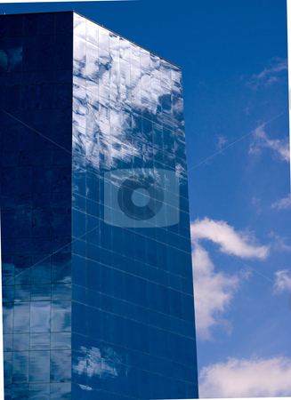 Blue Office Building stock photo, Blue office building with reflective windows by Robert Cabrera