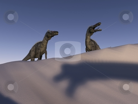 Cretaceous Conflict stock photo, Two suchomimi prepare to take on a brachiosurid dinosaur in the desert. by Allan Tooley