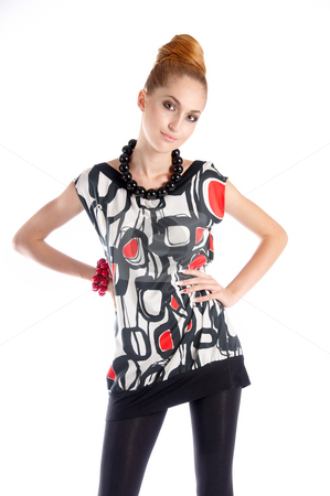 Flirting stock photo, Fashion dressed beautiful girl flirting by Valeriy Mazur
