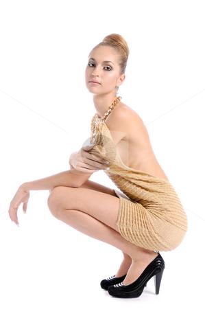 Flirting 2 stock photo, Fashion dressed beautiful girl flirting by Valeriy Mazur