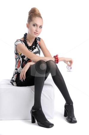Very Stylish Girl 3 stock photo, Fashion dressed beautiful girl and sunglasses by Valeriy Mazur