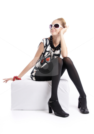 Very Stylish Girl 2 stock photo, Fashion dressed beautiful girl and sunglasses by Valeriy Mazur