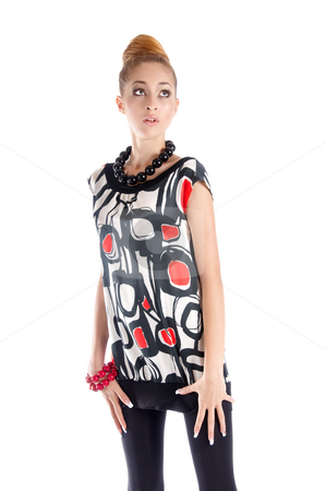 Surprise stock photo, Fashion dressed beautiful girl open-mouthed with astonishment by Valeriy Mazur