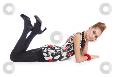 On The Floor 2 stock photo, Fashion dressed beautiful girl lying on the floor by Valeriy Mazur