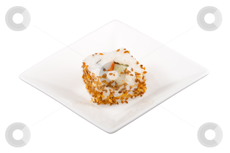 Sushi stock photo, A square white plate with a piece of sushi by Petr Koudelka