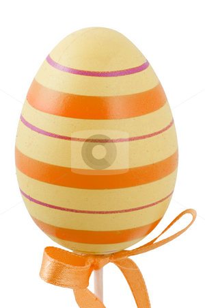 Colourful Easter Egg stock photo, A yellow and orange easter egg isolated on the white background by Petr Koudelka