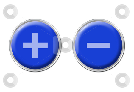Controls stock photo, Two round blue controls on the white background by Petr Koudelka
