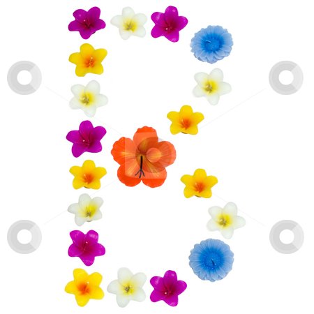 The Letter B stock photo, A letter of the alphabet made of wax flowered candles, isolated against a white background by Richard Nelson