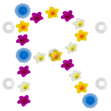 The Letter R stock photo, A letter of the alphabet made of wax flowered candles, isolated against a white background by Richard Nelson