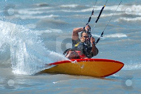 Back side stock photo, Kite surfer backside at full speed by Serge VILLA