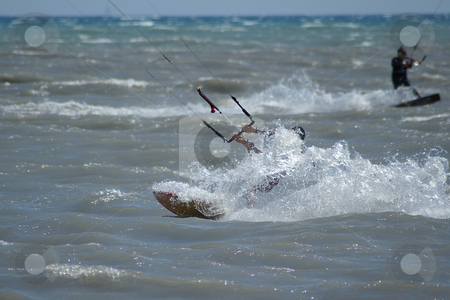 In the wave stock photo, Kiteboarder in the wave at full speed by Serge VILLA