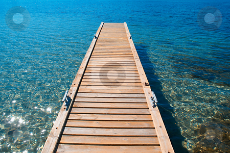 Mediterranean Resort stock photo, View of  the Mediterannean sea from a wood deck. by Serge VILLA