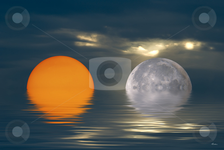 Moon & Sun stock photo, Illustration of a mythic meeting between the Moon and the Sun by Serge VILLA