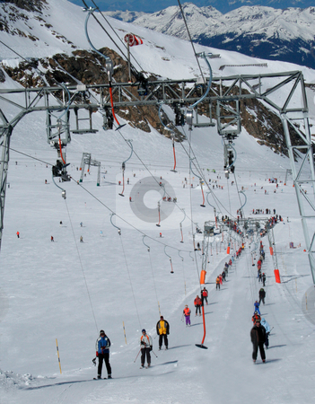Alpine ski lft stock photo, Details on alpine ski lift in Switzerland. by Martin Crowdy