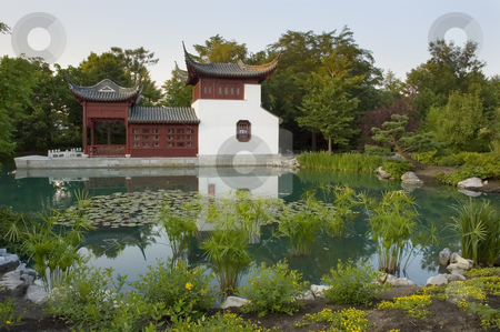Garden stock photo, Chinease pavilion in botanical garden of Montreal, Quebec Canada by Vlad Podkhlebnik