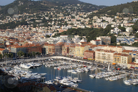 Nice France harbor stock photo, View of the city of Nice with its harbor by Serge VILLA