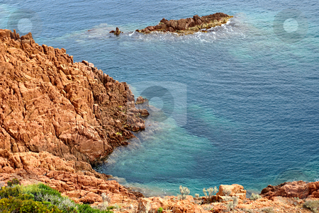 Diving in Mediterranean sea stock photo, Mediterranean sea  with transparent water in French Riviera - Location : Esterel Mountains near the city of Cannes by Serge VILLA