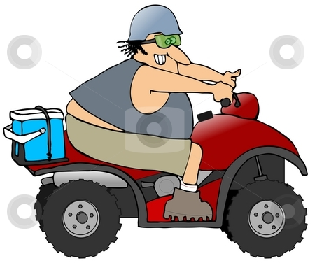Man Riding An ATV stock photo, This illustration depicts a man riding an all terrain vehicle. by Dennis Cox