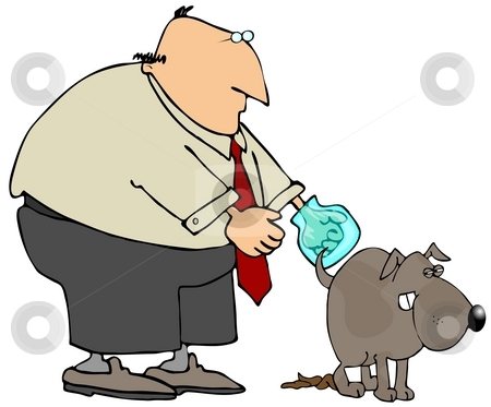 Poop Scoop stock photo, This illustration depicts a man picking up his dogs poop. by Dennis Cox
