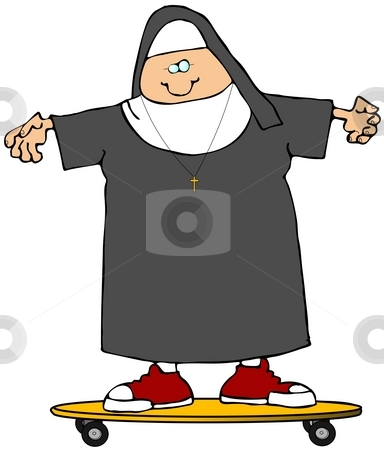 Nun On A Skateboard stock photo, This illustration depicts a Catholic Nun on a skateboard. by Dennis Cox
