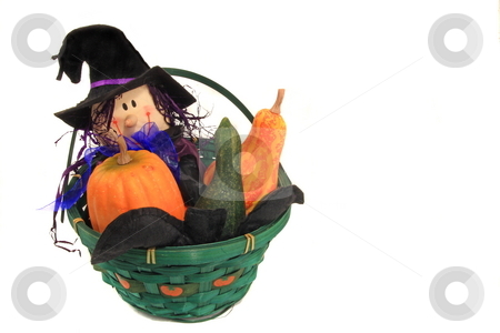Halloween Witch Basket stock photo, Halloween witch in a basket with pumpkin and squash by Jack Schiffer