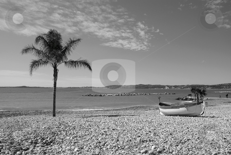 Postal Card stock photo, View of a beach with provencal boat (named