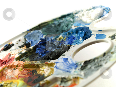 Paint Palette on White Background stock photo, Paint Palette on White Background by Robert Davies