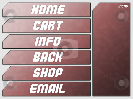 Red Futuristic Website Navigation Stone Buttons stock photo, Red Futuristic Website Navigation Stone Buttons Home Cart Infor Back Shop Email by Robert Davies