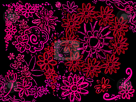 Neon Pink Various Flowers on Black stock photo, Neon Pink Various Flowers on Black Background Illustration by Robert Davies