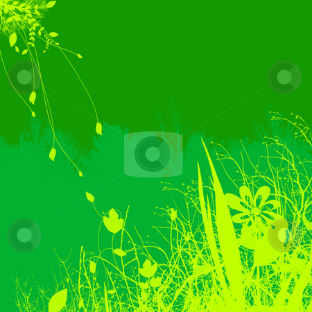 Green Plant and Flower Illustration Design stock photo, Green Plant and Flower Illustration Design With Contrasting Background by Robert Davies
