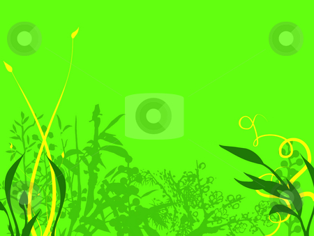 Bright Flowery Background Texture With Details stock photo, Abstract Background Texture Flowers and Leaves in Dark Green and Yellow on a neon Green Background by Robert Davies