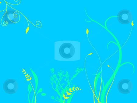 Underwater Plants Growing On Sea Ocean Bed stock photo, Underwater Foliage Growing On Sea Ocean Bed with  a light Blue Tone and Green and Purple Flowers Plants Grass Illustration Design by Robert Davies