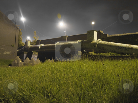 Vandalised Gas Pipe near Grass at Night stock photo, Vandalised Gas Pipe near Grass at Night in Manchester UK by Robert Davies