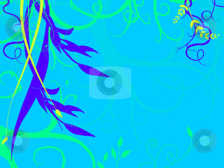 Soft Blue Underwater Foliage Growing Down on Sea Ocean Bed stock photo, Underwater Foliage Growing On Sea Ocean Bed with  a light Blue Tone and Green and Purple Flowers Plants Grass Illustration Design by Robert Davies