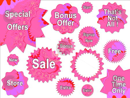Pink Girly Bright For Sale Offer Badge Star Strickers stock photo, Pink Girly Bright For Sale Offer Badge Star Strickers by Robert Davies