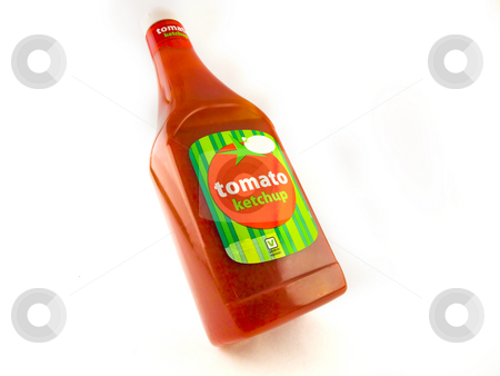 Large Bottle of Tomato Ketchup on White Background stock photo, Large Bottle of Tomato Ketchup on White Background by Robert Davies