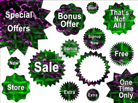Green and Purple Special Offer Sale Stickers for Website stock photo, Green and Purple Special Offer Sale Stickers for Website by Robert Davies