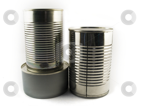 Three Different Types of Tin Can for Food White Backgound stock photo, Three Different Types of Tin Can for Food White Backgound by Robert Davies