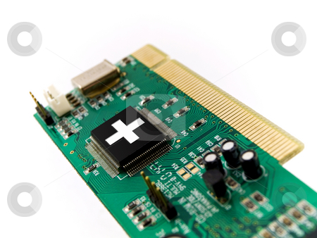 PC Help Circuit Board PCI on White Background stock photo, PC Help Circuit Board PCI on White Background by Robert Davies