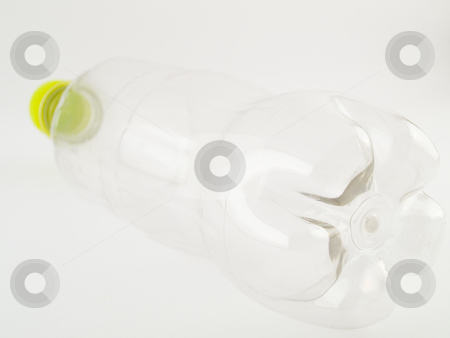 Empty PVCu Plastic Bottle With Green Cap stock photo, PVCu Plastic Bottle With Green Cap Screwed on Clear Bottle Isometric View Facing Away by Robert Davies