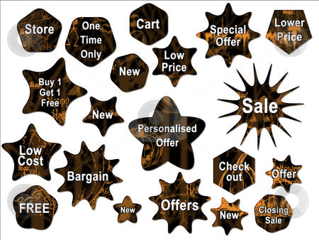 Black and orange Halloween For Sale and Offer Stars and Shapes S stock photo, Black and orange Halloween For Sale and Offer Stars and Shapes Stickers Website Buttons Interface by Robert Davies