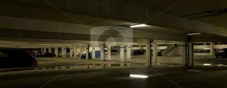 Underground Car Parking Facility at Night stock photo, Concrete Underground Car Parking Facility at Night by Robert Davies