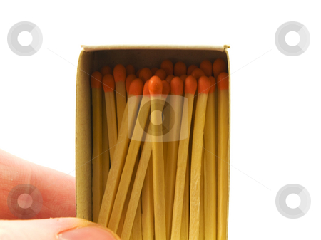 Matches and Matchbox with Hand on White Background stock photo, Matches and Matchbox with Hand on White Background by Robert Davies