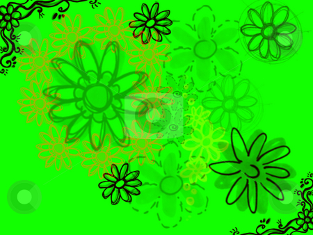Sketched Flowers in Black on Bright Green stock photo, Sketched Flowers in Black on Bright Green Background Illustration by Robert Davies