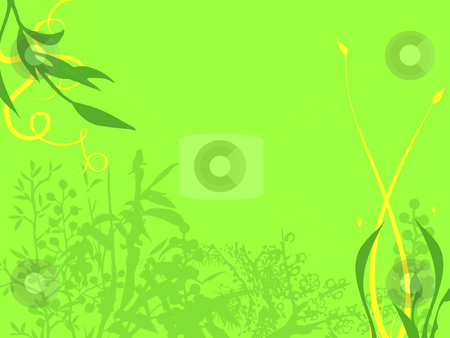 Flowers and Leaves Framing a Light Green Background stock photo, Abstract Background Texture Flowers and Leaves in Dark Green and Yellow on a bright Green Background by Robert Davies