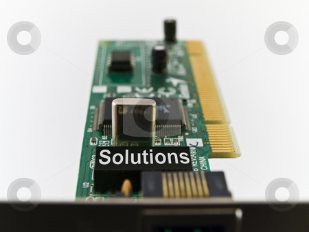 Solutions Circuit Board PCI on White Background stock photo, Solutions Circuit Board PCI on White Background by Robert Davies