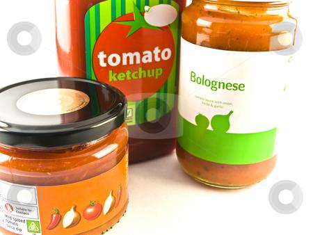 Tomato Ketchup Bolognese and Salsa Jars on White Background stock photo, Tomato Ketchup Bolognese and Salsa Jars on White Background by Robert Davies
