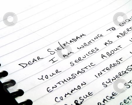 Handwritten Writing a Letter on Plain White Lined Paper stock photo, Handwritten Writing a Letter on Plain White Lined Paper by Robert Davies