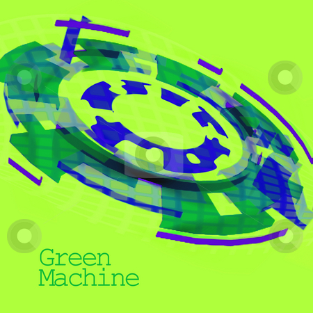 Green and Blue Cog Showing a Green Machine stock photo, Green and Blue Cog Showing a Green Machine For Use With Systems of Environmental or Climatic Benefit by Robert Davies